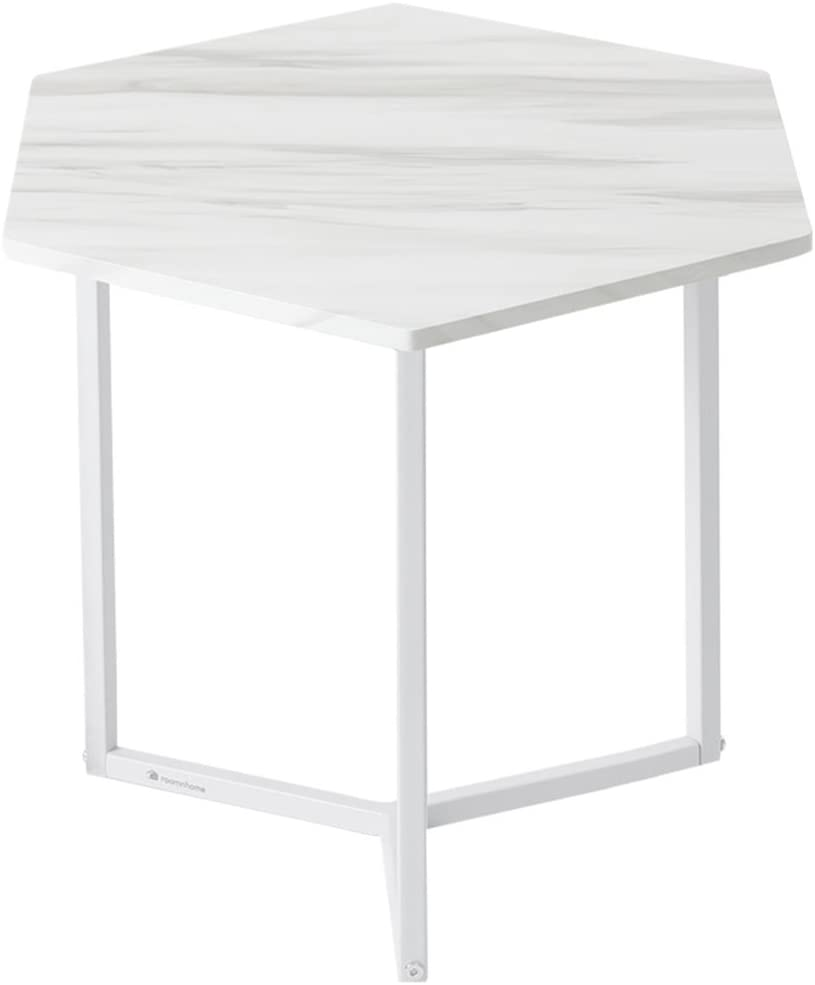 Roomnhome Nordic Side Table, Modern 17''H Decor Furniture Round/Hexagon Side Table for Bedroom, Living Room, Balcony, Home and Office (Hexagon/Marble Pattern/White Frame)