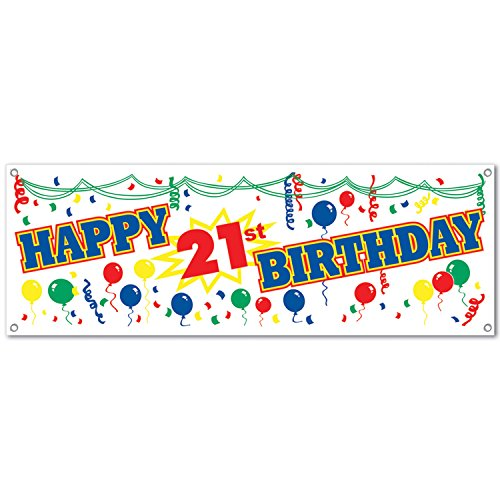 Happy 21st Birthday Sign Banner Party Accessory (1 count) -