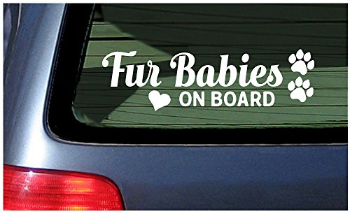 (Fur Babies On Board White Window Vinyl Die Cut Decal Sticker Dog Cat)
