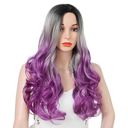 AISI HAIR Purple Ombre Wig for Women Long Wavy Ombre Wig Middle Part Synthetic Wig Heat Resistant Dark Roots Three Tone Women Natural Hair Wigs