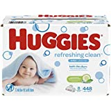 HUGGIES Refreshing Clean Baby Wipes, Disposable Soft Pack (8-Pack, 448 Sheets Total), Scented, Alcohol-Free, Hypoallergenic