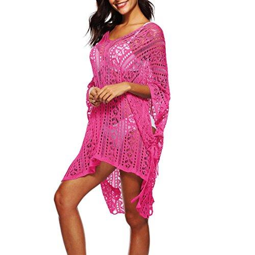 baño Trajes Amlaiworld pareos Caliente Bikini de Delantal de cubrir Rosa sexy Mujeres ropa playa Tejer Vestido Mujer de Cubierta baño baño Camisolas 55HYfBn