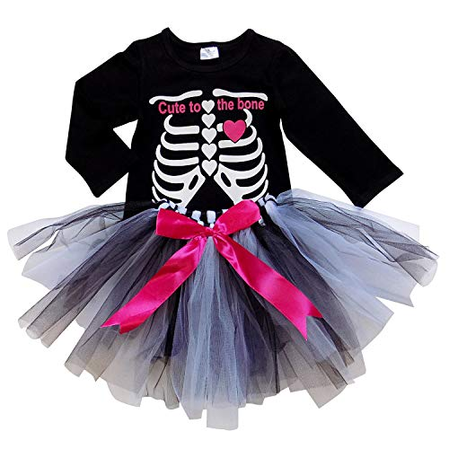 So Sydney Girls Kids Toddler Tulle Tutu Skirt & Top Socks Novelty Costume Outfit (M (4T), Skeleton Tee & Tutu)