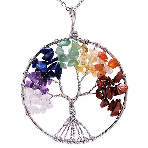 Handmade Healing Wire Wrapped Root Chakra Gemstone Family Tree of Life Rainbow Natural Stone Necklace for Womens Birstone Crystal Pendant Necklace for Mother Gift (Cross Stone Necklace Crystal)