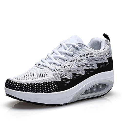 JARLIF Women's Comfortable Platform Walking Sneakers Lightweight Casual Tennis Air Fitness Shoes Black US8