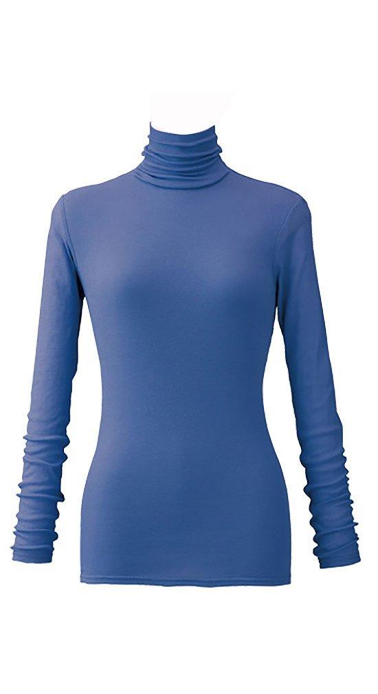 天使の綿シフォン レディースハイネック長袖 B074KQ7PQ1 M|フレンチブルー フレンチブルー M