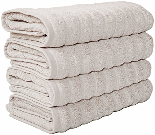 Classic Turkish Towels Combed Cotton Large Hand Towels 20x32 Ivory Color, Rib Style (Set of 4) Made in Turkey