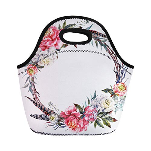 Semtomn Neoprene Lunch Tote Bag Watercolor Floral Wreath Made of Peonies Leaves Pheasant Feathers Reusable Cooler Bags Insulated Thermal Picnic Handbag for Travel,School,Outdoors,Work - Pheasant Feather Wreaths
