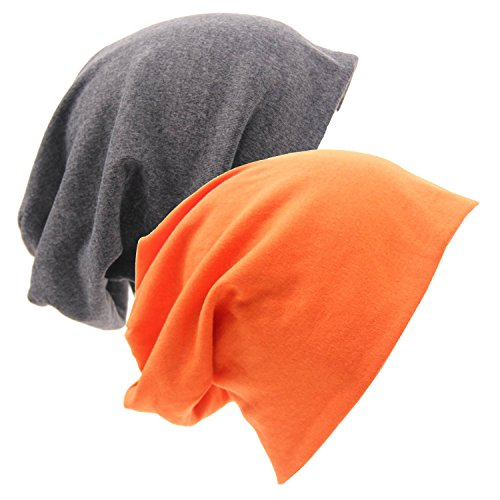 Stretch Cotton Beanie (2 Pack of Baggy Soft Cotton Slouchy Stretch Beanie Hat,Chemo Hats for Men and Women)