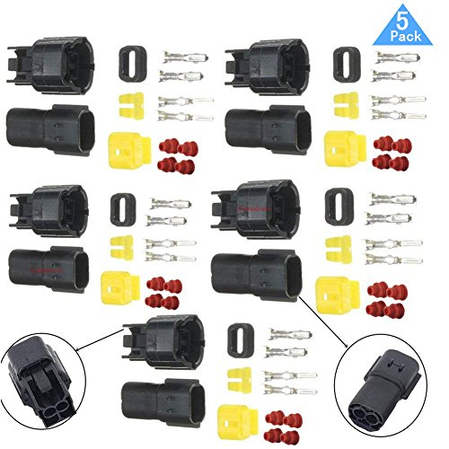 (Lsgoodcare 2 Pin Way Waterproof Electrical Wire Connector Plug Kit, 1.8MM Terminals Heat Shrink Quick Locking Wire Harness Sockets Set for Auto Car Seal, Set of 5, Sold By)