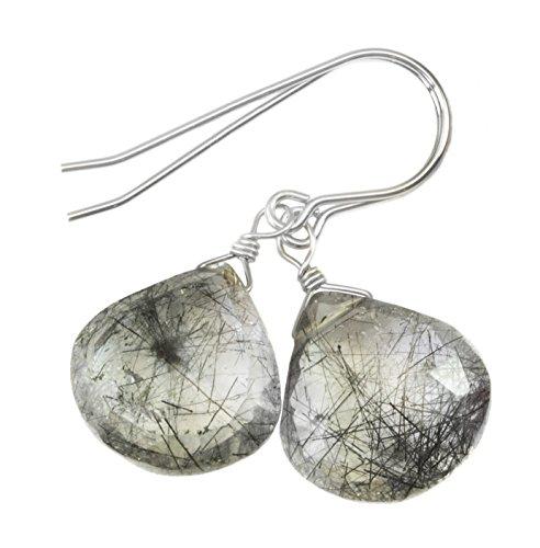 Sterling Silver Rutile Quartz Earrings Faceted Heart Black Rutilated Teardrop Drops Briolettes