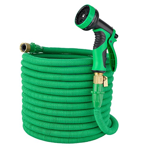 Elite4 100ft Expandable Garden Hose, Leakproof Patent Connector Flexible Water Hose, 3/4″ Solid Brass Fittings -No-Kink, 9 Function Spray Included