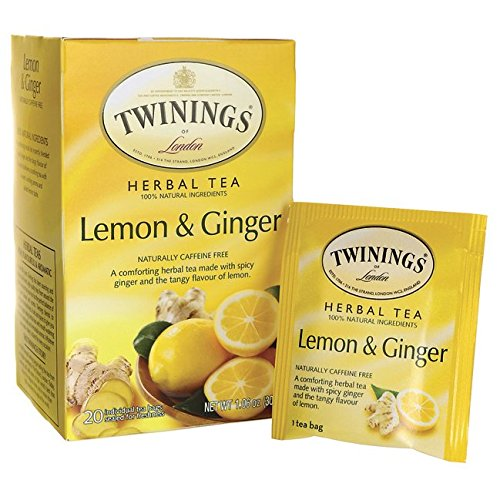 Twinings of London Lemon & Ginger Herbal Tea, 20 Count (Lemon Twinings Tea)