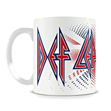 Def Leppard Mug Union Jack Flag Logo Official New White 11 fl oz Ceramic Boxed