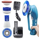 Spin Scrubber, Cordless Household Power Scrubber with Rechargeable Battery for Bathroom and Kitchen 1 Battery 4 Brushes 1 Scouring Pad, Cleaning Brush