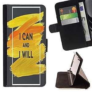 King Case - FOR Samsung Galaxy Core Prime - i can and i will - Prima caja de la PU billetera de cuero con ranuras para tarjetas, efectivo Compartimiento desmontable y correa para la mu?eca