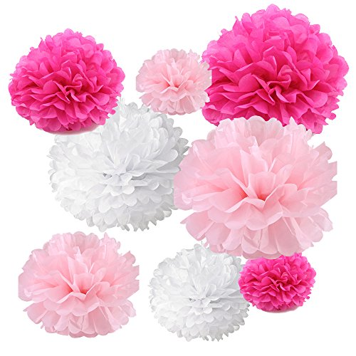 Gold Fortune 18PCS Tissue Hanging Paper Pom Poms Flower Ball Wedding Party Outdoor Decoration Tissue Paper Pom Pom Flowers Craft Kit (Fuchsia & Pink & (Paper Fortune)