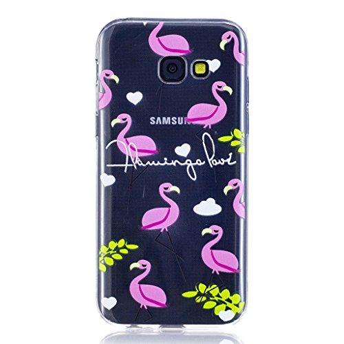 Funda para Samsung Galaxy A3 2017 , IJIA Transparente Unicornio Lindo TPU Silicona Suave Cover Tapa Caso Parachoques Carcasa Cubierta para Samsung Galaxy A3 2017 (LF12) LF7