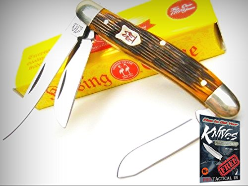 KISSING CRANE Amber Bone STOCKMAN 3 Blade Stainless FOLDING Pocket Knife! KC5376 + free eBook by ProTactical'US