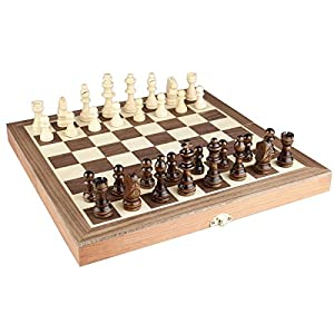 "Chess Set 12""x12"" Folding Wooden Standard Travel International Chess Game Board Set with Magnetic Crafted Pieces"
