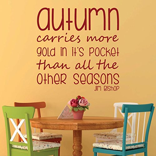 Autumn Decorations - Autumn Carries More Gold in it's Pocket Than All the Other Seasons - Jim Bishop Wall Decal Quote, Autumn Wall Decor for the Bedroom, Living Room, or Dining Room