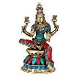 CraftVatika 1 Ft large Lakshmi Statue Hindu Goddess Laxmi Sculpture Goddess of Wealth Prosperity Brass Turquoise figurine
