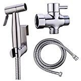 DenSan Hand Held Bidet Sprayer Kit Stainless Steel Sprayer 2 Modes Cloth Washing Diaper Cleaning Shower Head with Wall Bracket