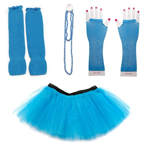 Dreamdanceworks 80s Fancy Costume Set - TUTU & LEG WARMERS & FISHNET GLOVES & BEADS (Turquoise) OneSize -