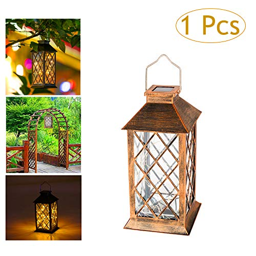 Solar Lantern Lights Hanging Light with 30 LEDs Copper Wire Fairy Starry String Lights,for Lawn Patio Walkway Garden Outdoor Decorative