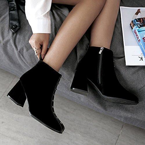 KHSKX Inglaterra Martin Remaches black Con Invierno De Botas Tacon El Mate Zapatos Retro De Cuadrado Viento Primavera Otoño Y Hembra Nuevo Botas Grueso La Short Y El El El rqrvgY