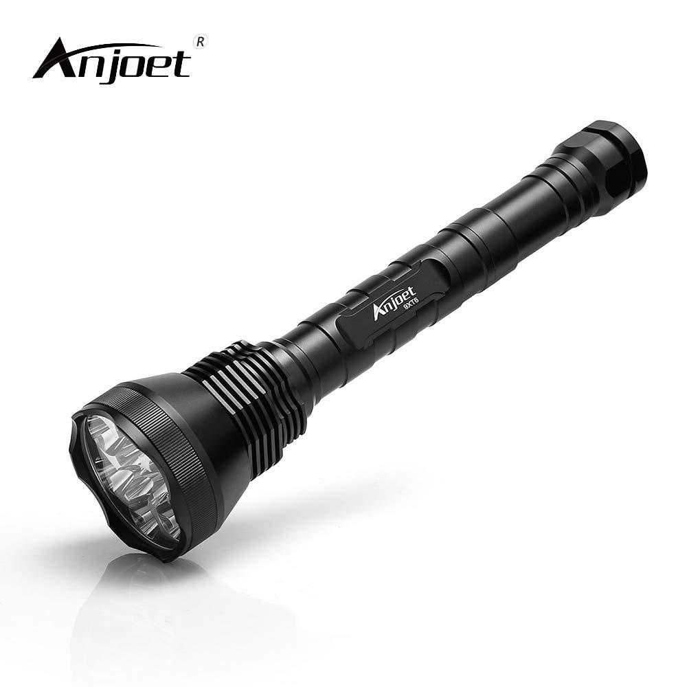 Anjet LED-Taschenlampe, 5 Modi, sehr hell, 11000 Lumen, 9-XML T6, wasserdicht, für Camping