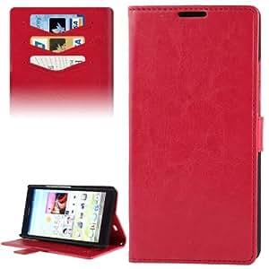 Fine Sheepskin Texture PU Case Funda Flip Cover con Credit Card Holder Slots & para Huawei Ascend Y530 () Magenta