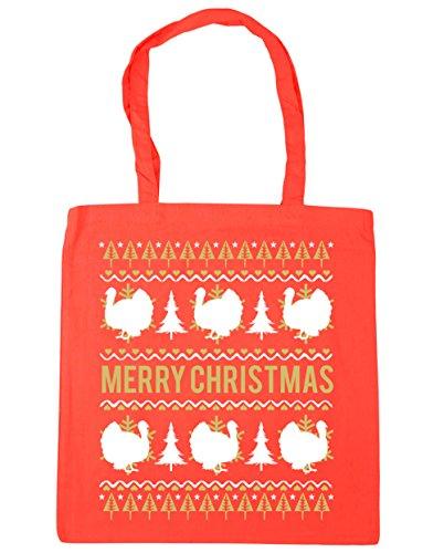 HippoWarehouse feliz Turquía Navidad Tote Compras Bolsa de playa 42cm x38cm, 10litros Coral