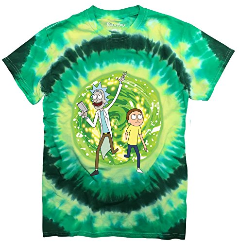 Ripple Junction Rick and Morty Large Portal Adult T-Shirt 3XL Green Tye Dye