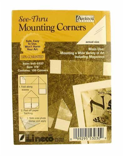 Lineco Self-Folding Mounting Corners, 7/8'' Clear (100/Pkg.) by Lineco