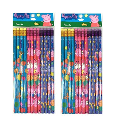 24 Pcs Peppa Pig Wood Pencils Birthday Party Favors Bag Fillers ()