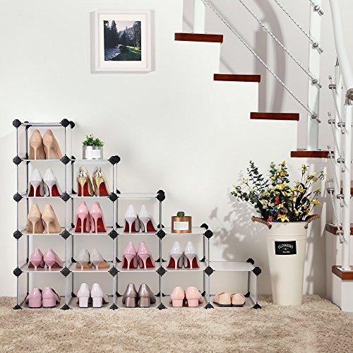 SONGMICS Shoe Rack, DIY Shoe Storage Organizer, Modular Plastic Cube Storage,Closet Cabinet Translucent White 16-cube ULPC44S