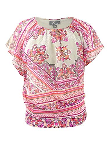 JM Collection Plus Size Printed Banded-Bottom Top 1x