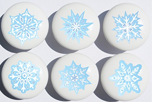Hand Printed Shade Table Lamp - Blue Snow Flakes Ceramic Drawer Knobs / Snowflake Handle Pulls, Set of 6