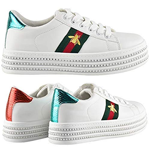 Fashion Thirsty Womens White Flat Stripe Sneakers Trainers Casual Gym Shoes Size (7 US, White Faux Leather/Green Red Stripe/Bee)