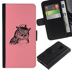 Ihec-Tech / Flip PU Cuero Cover Case para Samsung Galaxy S5 V SM-G900 - Captain Owl