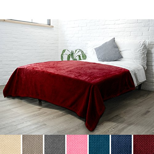 Red Chevron Pattern - Luxury Soft Plush Wine Burgundy Blanket for Twin Bed, Sofa, Couch | Super Soft Velvet Maroon Red Fleece Chevron Pattern | Cozy, Warm, Fuzzy Lightweight Microfiber | All Season | 60 x 80 Inches