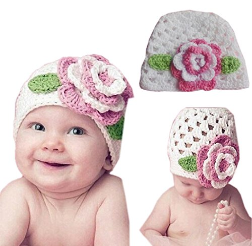 Price comparison product image Tenworld Cute Kids Infant Toddler Girl Warm Big Flower Baby Beanie Knit Hat Cap