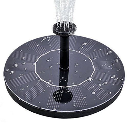 MADETEC Solar Birdbath Fountain Pump, Solar Outdoor Water Fountain Panel Kit for Bird Bath,Small Pond,Garden and Lawn (1.4W), Black