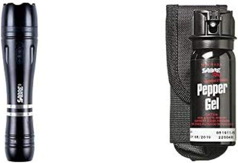SABRE RED Pepper Gel and Stun Gun Flashlight Self-Defense Kit