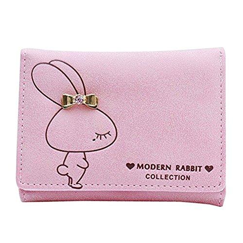 Women Short PU Leather Wallet(Pink) - 6