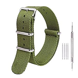 Ritche Premium NATO Strap 18mm 20mm 22mm Nylon Watch Band for Men Women, Mens, Arny Green, 22mm