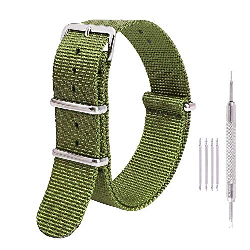 Ritche Premium NATO Strap 18mm 20mm 22mm Nylon Replacement Watch Band for Men Women (Arny Green, 22mm) ()