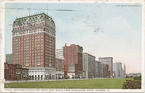 Historic Pictoric Postcard Print | Michigan Ave, Grant Park near Blackstone Hotel, Chicago, Ill, 1898 | Vintage Fine Art