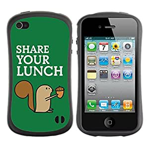 Hybrid Anti-Shock Bumper Case for Apple iPhone 4 4S / Squirrel Share Your Lunch
